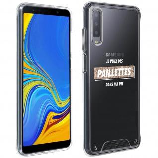 """Handyhülle für Samsung Galaxy A7 2018, Made in France ? """" Paillettes"""" Design"""