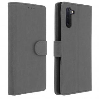 Flip Cover Geldbörse, Klappetui Kunstleder für Samsung Galaxy Note 10 - Grau