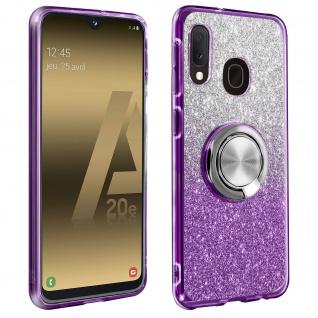 Glitter Silikonhülle mit Ring Halterung für Samsung Galaxy A20e - Violett