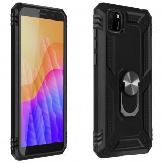 Hybrid Handyhülle mit Ring Halterung für Huawei Y5p ? Schwarz