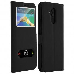 Huawei Mate 20 lite Flip Cover mit Doppelfenster & Standfunktion - Schwarz