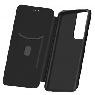 Samsung Galaxy S21 Ultra Klappetui, Cover mit Carbon Design & Ständer - Schwarz