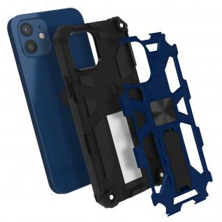 Apple iPhone 12 Mini Handyhülle mit Ständer, Metallic Design - Blau