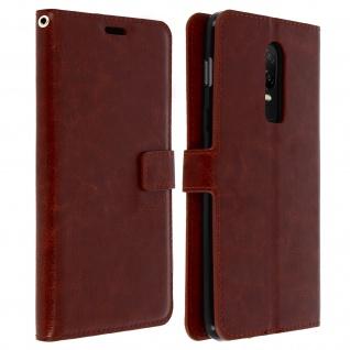 Flip Cover Stand Case Brieftasche & Standfunktion für Oneplus 6 - Braun