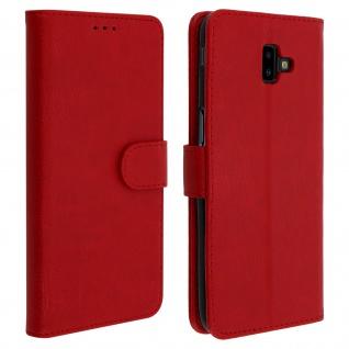Flip Cover Geldbörse, Klappetui Kunstleder für Samsung Galaxy J6 Plus - Rot