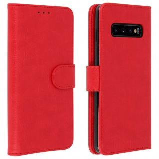 Flip Cover Geldbörse, Klappetui Kunstleder für Samsung Galaxy S10 Plus - Rot