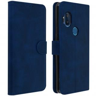 Soft Touch Flip-Cover Geldbörse mit Standfunktion Motorola One Hyper -Dunkelblau