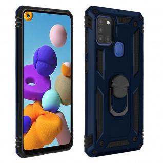 Hybrid Handyhülle mit Ring Halterung für Samsung Galaxy A21s ? Dunkelblau