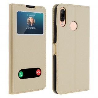 Wiko View 3 Lite Flip Cover Doppelfenster & Standfunktion - Gold