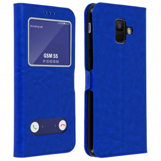 Flip Cover Doppelfenster & Standfunktion, Klappetui Samsung Galaxy A6 - Blau