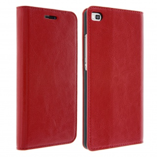 Huawei P8 Flip-Schutzhülle aus Echtleder im Brieftaschenstil - Rot - Vorschau 2