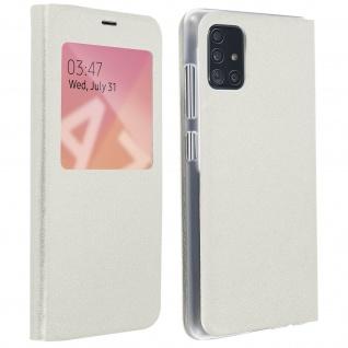 S-View Flip Cover mit Sichtfenster & Kartenfach für Samsung Galaxy A71 - Weiß