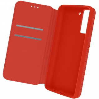 Kunstleder Cover Classic Edition, Klappetui für Samsung S21 FE ? Rot