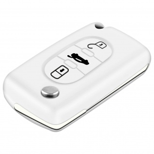 Autoschlüssel Hülle, Silikon Schutzhülle Peugeot 308, 408, 407 - Weiß
