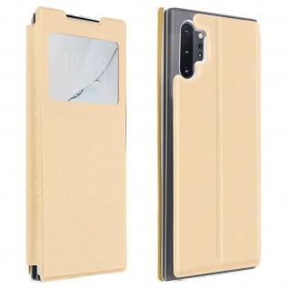 Samsung Galaxy Note 10 Plus Kunstlederetui mit Sichtfenster & Kartenfach ? Gold