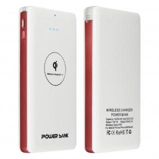 10000mAh Powerbank, 2.1A 1x USB Port + Micro-USB Kabel, QI-Funktion - Weiß
