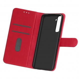 Flip Cover Geldbörse, Etui Kunstleder für Samsung Galaxy S21 Plus - Rot