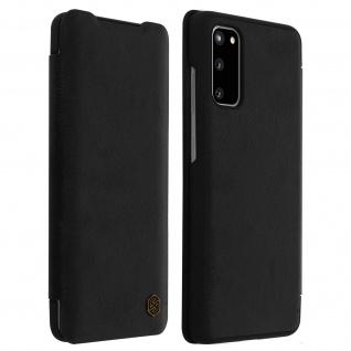 Qin Nillkin Series Leder Cover mit Kartenfach Samsung Galaxy S20 - Schwarz