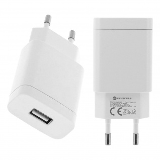USB Wand Ladegerät 2.4A Quick charge 3.0 + USB Typ-C Kabel Forcell - Weiß