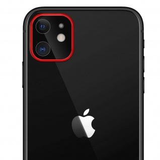 Apple iPhone 11 Rückkamera Schutzfolie aus 9H Panzerglas mit rotem Rand.