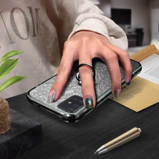 Glitter Silikonhülle mit Ring Halterung für Samsung Galaxy A51 - Schwarz - Vorschau 4