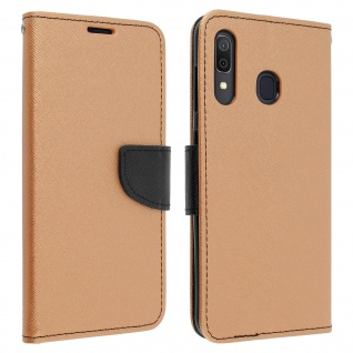 Fancy Style Cover Samsung Galaxy A30, Fach und Standfunktion - Gold