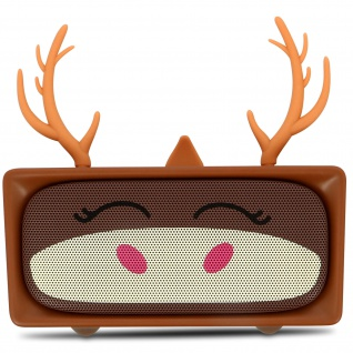 Mini Stereo Lautsprecher mit Bluetooth - MOB, Hirsch Design - Braun