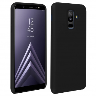 Halbsteife Silikon Handyhülle Galaxy A6 +, Soft Touch - Schwarz