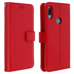Huawei Y6 2019 Flip-Cover mit Kartenfächern & Standfunktion ? Rot - Vorschau 1