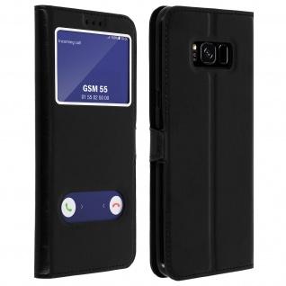 Flip Cover Doppelfenster & Standfunktion, Klappetui für Galaxy S8 Plus - Schwarz