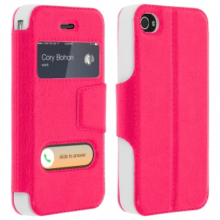 Apple iPhone 4 / 4S Flip Cover mit Doppelfenster & Standfunktion - Fuchsienrot