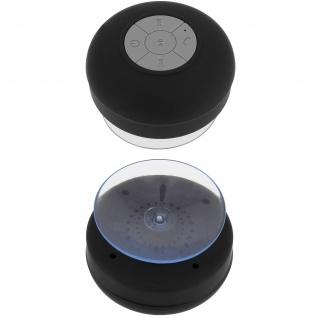 Spritzfester Bluetooth Lautsprecher (IPX4) - Mit Saugnapf-Befestigung - Schwarz