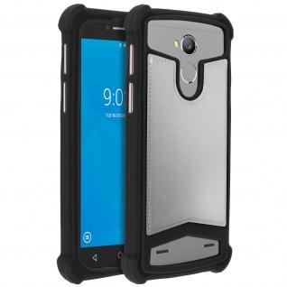 Universal Schutzhülle aus Silikon für Smartphones 4.7'' bis 5'' - Schwarz/Silber