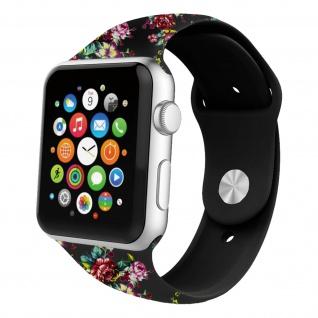Apple Watch 42 / 44mm Armbanduhr, Kunstleder Armband mit Blumen ? Schwarz/ Rot