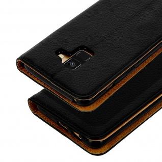 Samsung Galaxy A8 2018 Flip Cover Kartenfach mit Magnetverschluss - Schwarz - Vorschau 3
