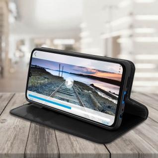Business Leder Cover, Schutzhülle mit Geldbörse für Huawei P30 - Schwarz - Vorschau 4