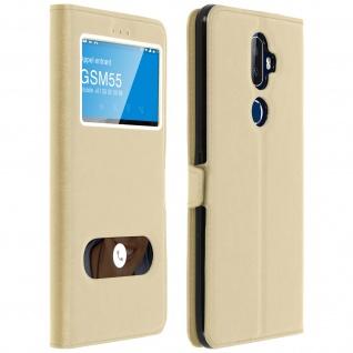 Flip Cover Doppelfenster & Standfunktion für Alcatel 3V, Gelhülle - Gold