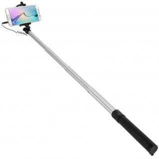 Forever Selfie-Stange ausziehbar, 3.5mm Klinkenstecker 145° schwenkbar - Schwarz