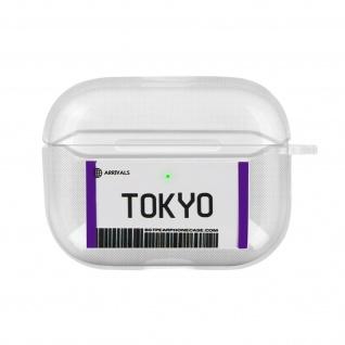 Weiche Silikonhülle für AirPods Pro, Tokyo Fahrkarte Design - Weiß