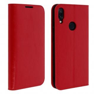Business Leder Cover, Schutzhülle mit Geldbörse für Xiaomi Redmi Note 7 - Rot
