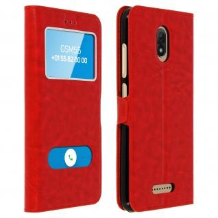 Flip Cover Doppelfenster & Standfunktion für Wiko Jerry 3, Gelhülle - Rot
