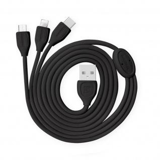 Remax 3-in-1 Micro-USB/iPhone/iPad/USB-C 2.1A Ladekabel Aufladen &Sync - Schwarz