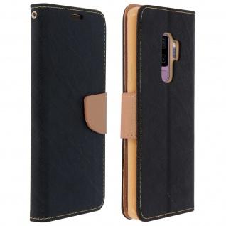 Fancy Style Flip-Cover für Galaxy S9+, Kartenfach & Standfunktion - Schwarz/Gold