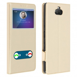 Sony Xperia 10 Flip Cover Doppelfenster & Standfunktion � Gold