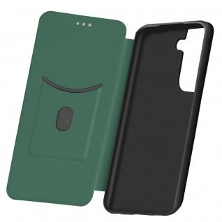 Samsung Galaxy S21 Klappetui, Cover mit Carbon Design & Ständer - Dunkelgrün