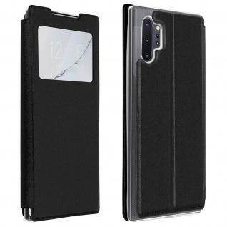 Samsung Galaxy Note 10 Plus Kunstlederetui, Sichtfenster & Kartenfach - Schwarz