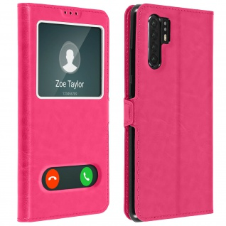Huawei P30 Pro Flip Cover Doppelfenster & Standfunktion - Rosa