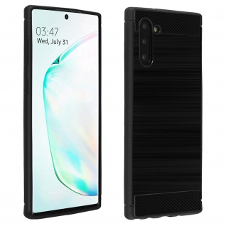 Samsung Galaxy Note 10 Silikon Schutzhülle mit Carbon/Aluminium Look - Schwarz
