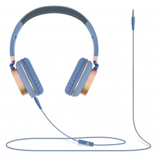 Audio Headset mit 3.5mm Klinkenstecker, GJ18 Kopfhörer - Hellblau / Gold