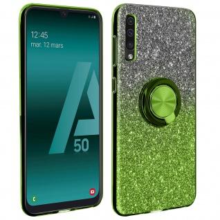 Glitter Silikonhülle mit Ring Halterung für Samsung Galaxy A50 - Grün